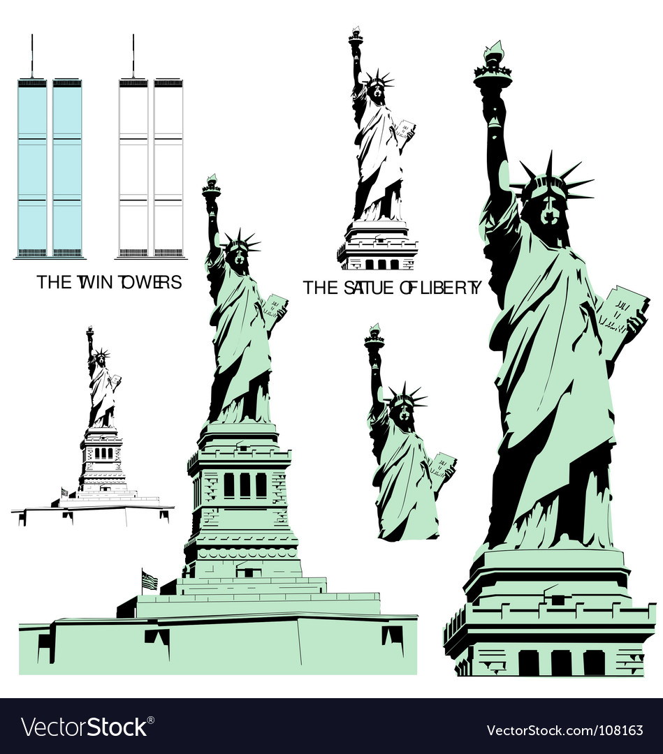 Statue of liberty and twin towers vector | Price: 1 Credit (USD $1)