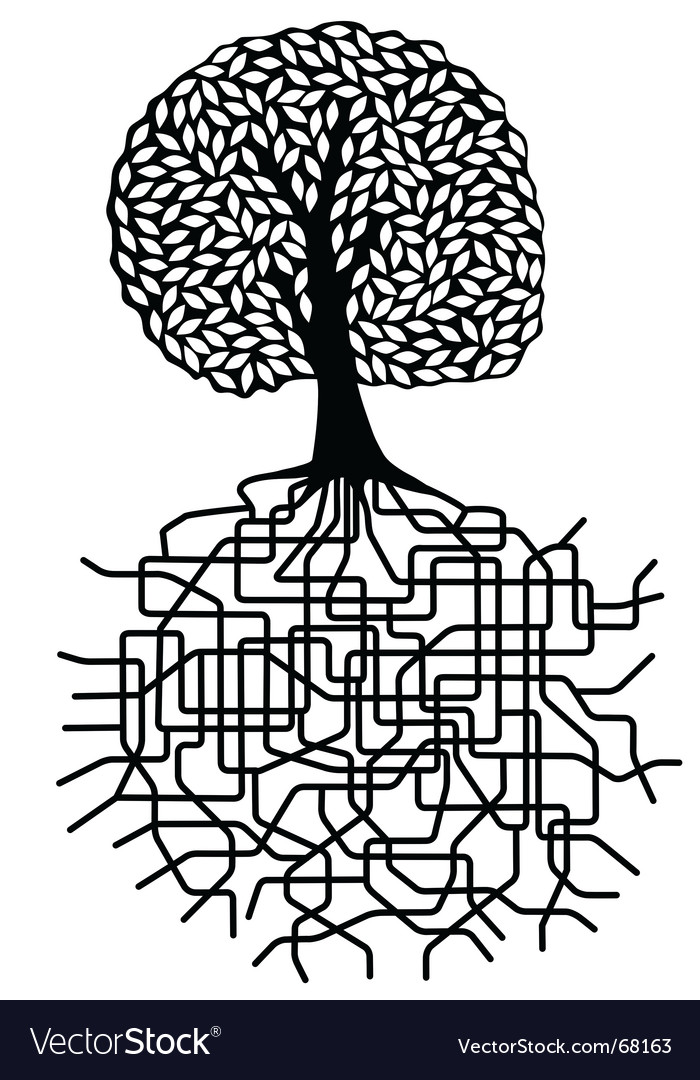 Tree and roots vector | Price: 1 Credit (USD $1)