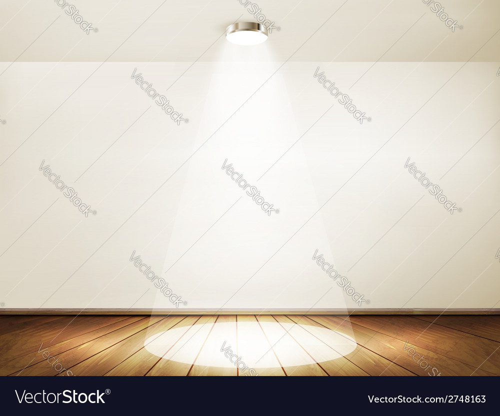 Wall with a spotlight and wooden floor showroom vector | Price: 1 Credit (USD $1)