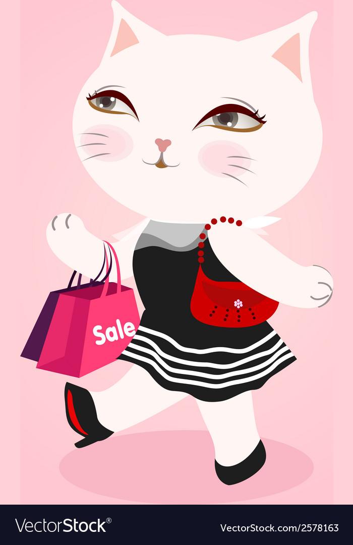 White cat fashion vector | Price: 1 Credit (USD $1)