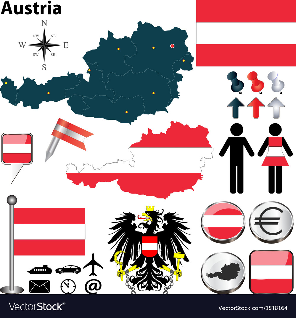 Austria blue map vector | Price: 1 Credit (USD $1)