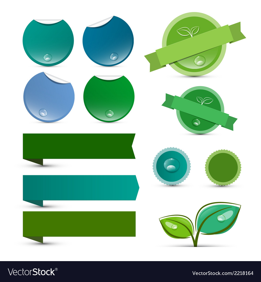 Empty natural product green labels - tags - vector | Price: 1 Credit (USD $1)
