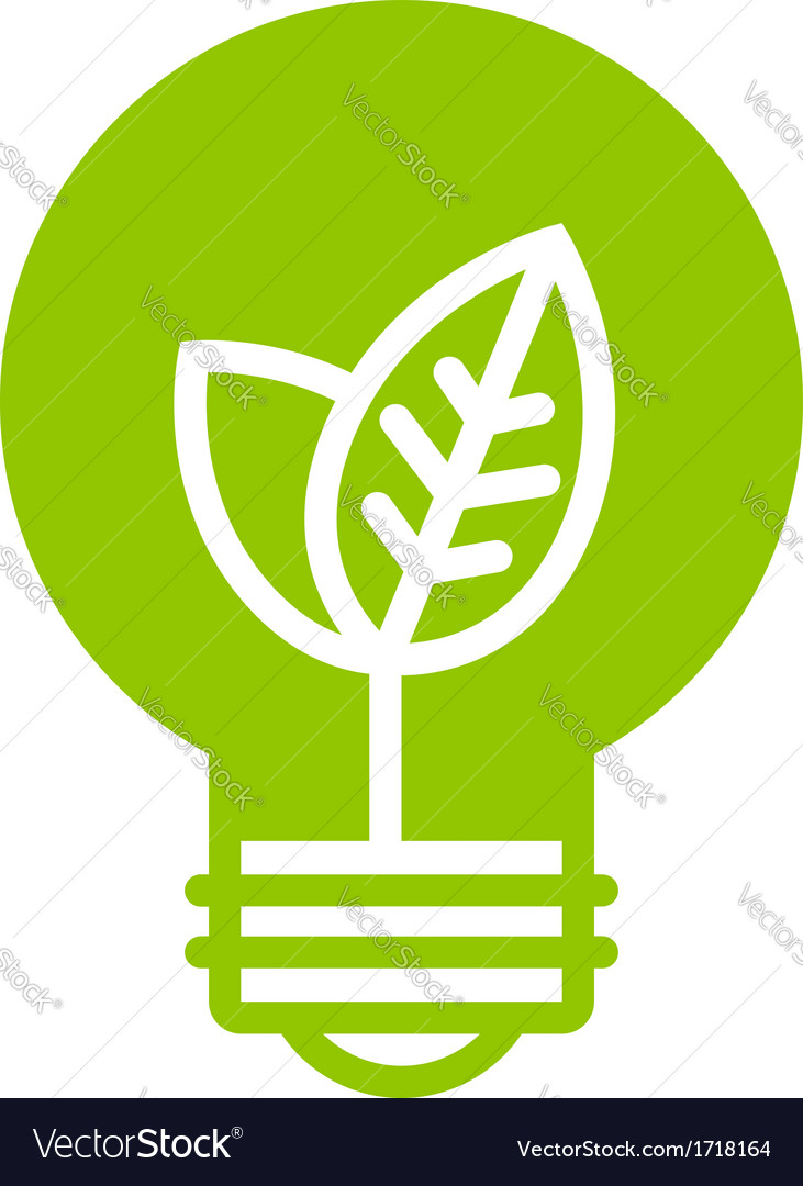 Green ecology light bulb icon vector | Price: 1 Credit (USD $1)