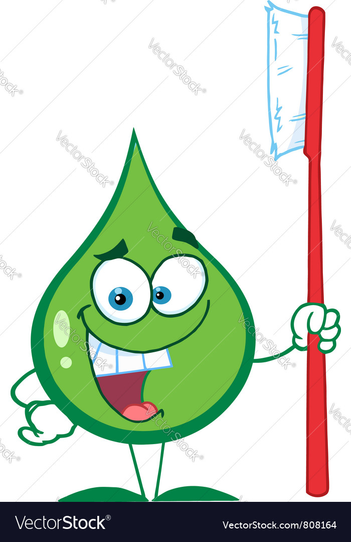 Green toothpaste character holding a toothbrush vector | Price: 1 Credit (USD $1)