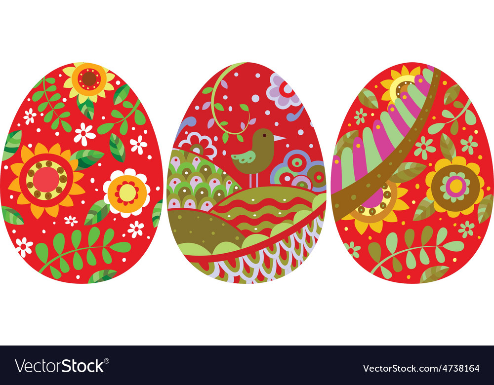 Three easter eggs vector | Price: 1 Credit (USD $1)