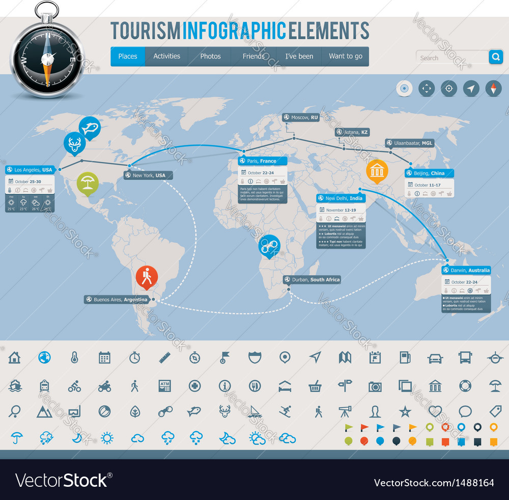 Tourism infographic elements vector | Price: 3 Credit (USD $3)