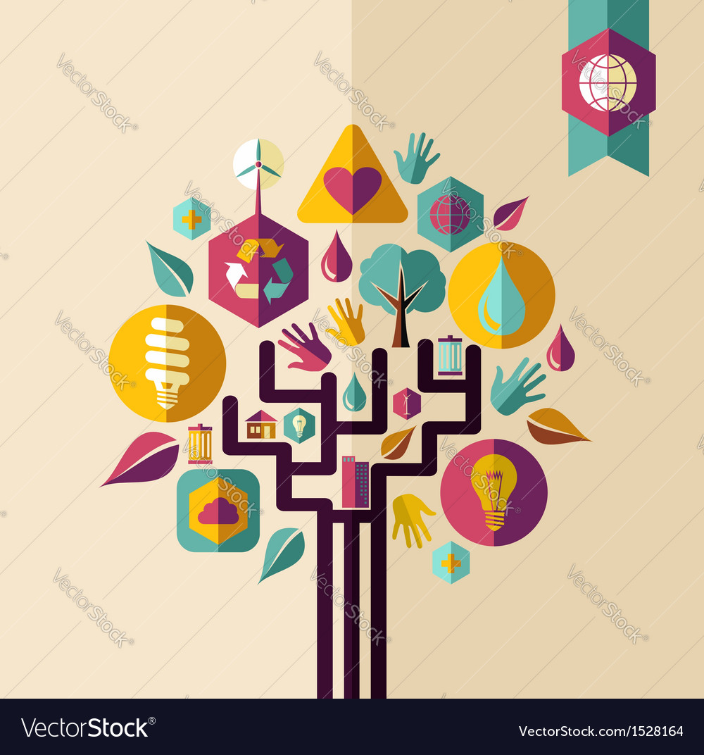 Vintage green concept tree vector | Price: 1 Credit (USD $1)