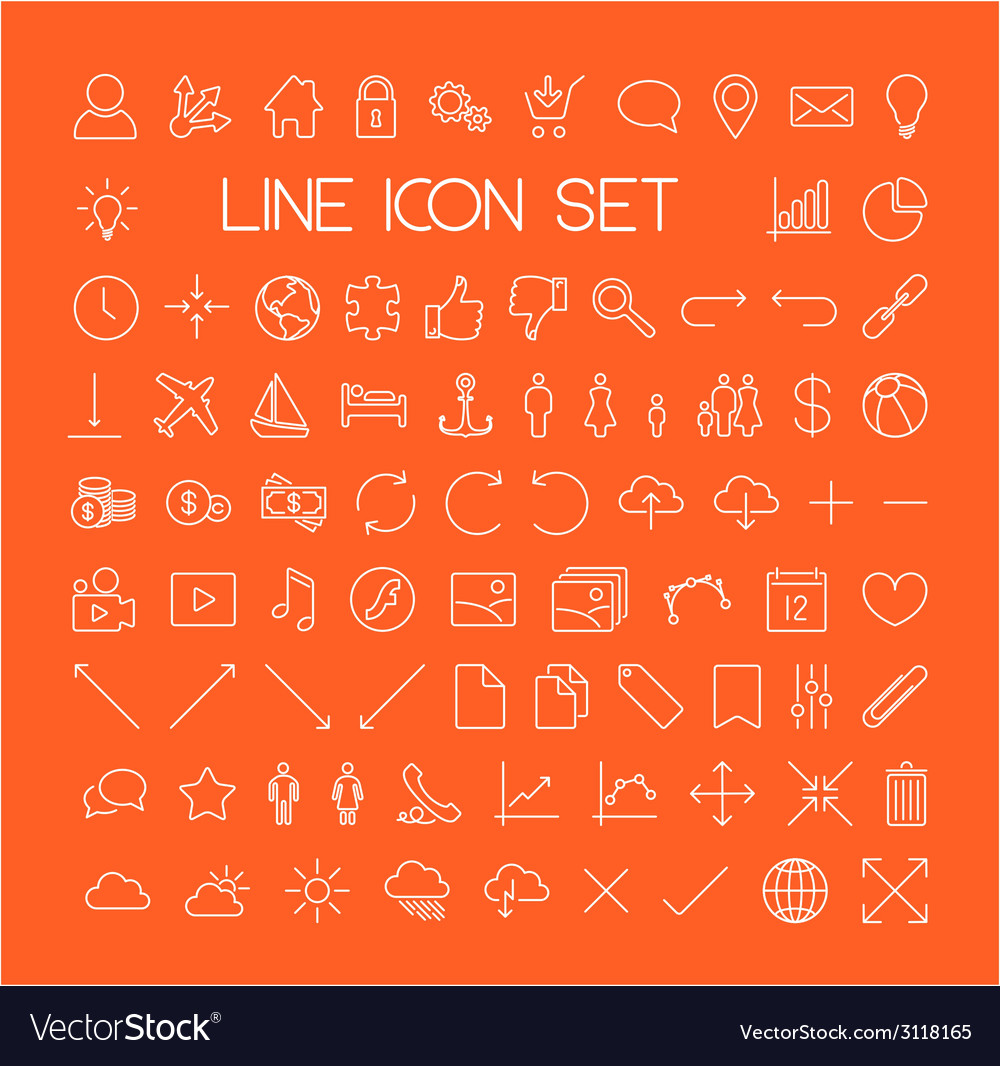 Big modern thin line icon set vector | Price: 1 Credit (USD $1)