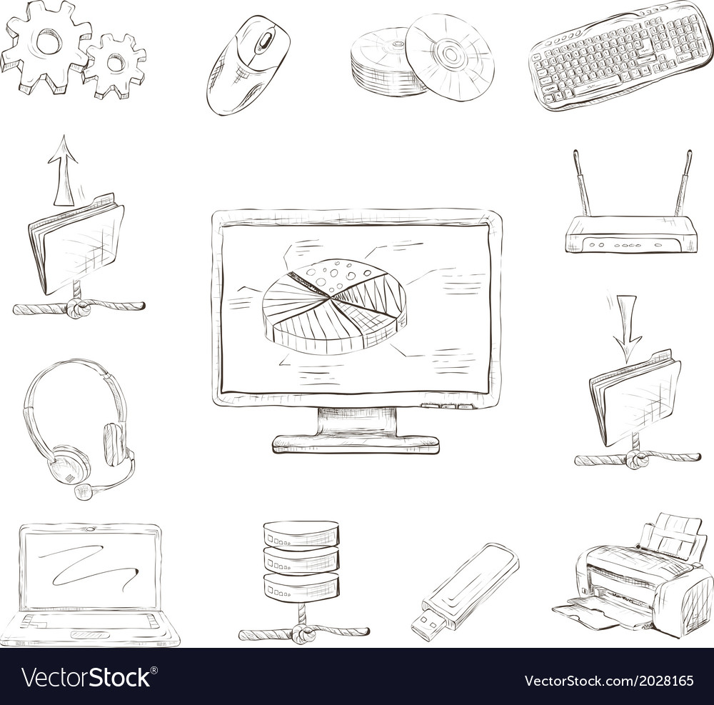 Business computer icons set vector | Price: 1 Credit (USD $1)