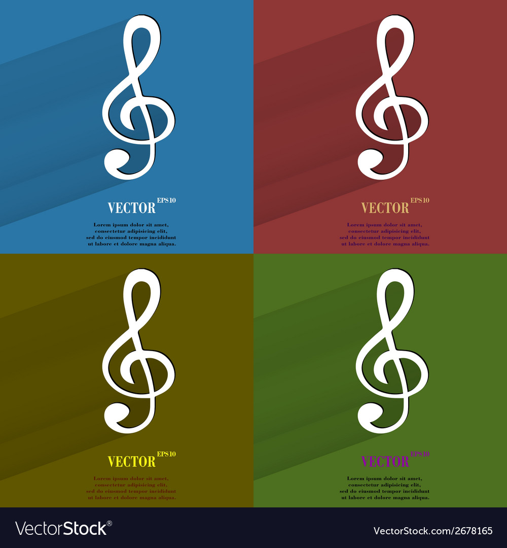 Color set music elements notes web icon flat vector | Price: 1 Credit (USD $1)