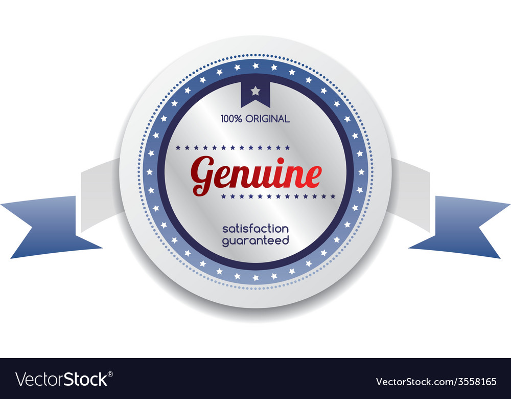 Genuine product sale and quality label sticker vector | Price: 1 Credit (USD $1)