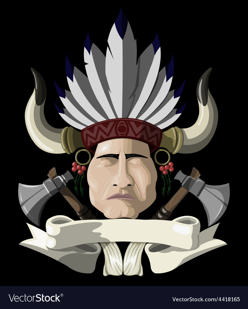 Indian chief with a tomahawk vector   Price: 3 Credit (USD $3)