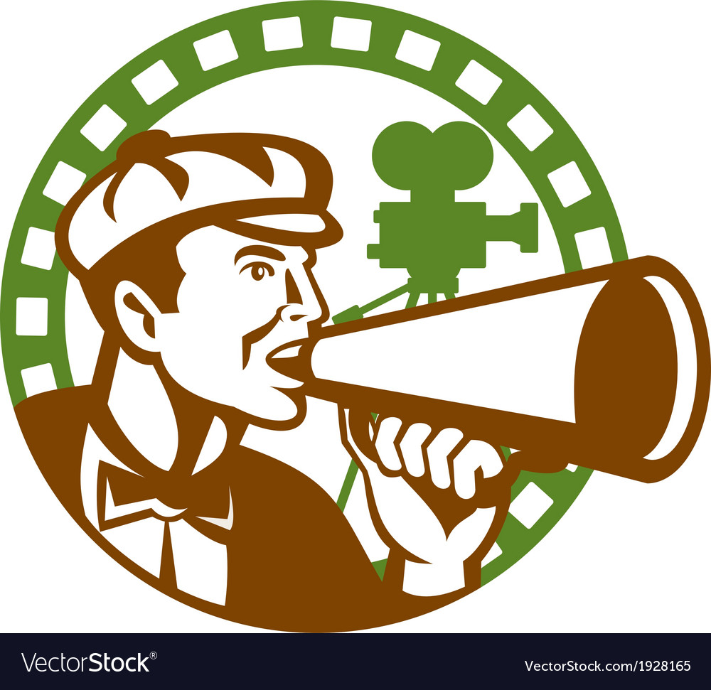 Movie director bullhorn vintage movie camera retro vector | Price: 1 Credit (USD $1)