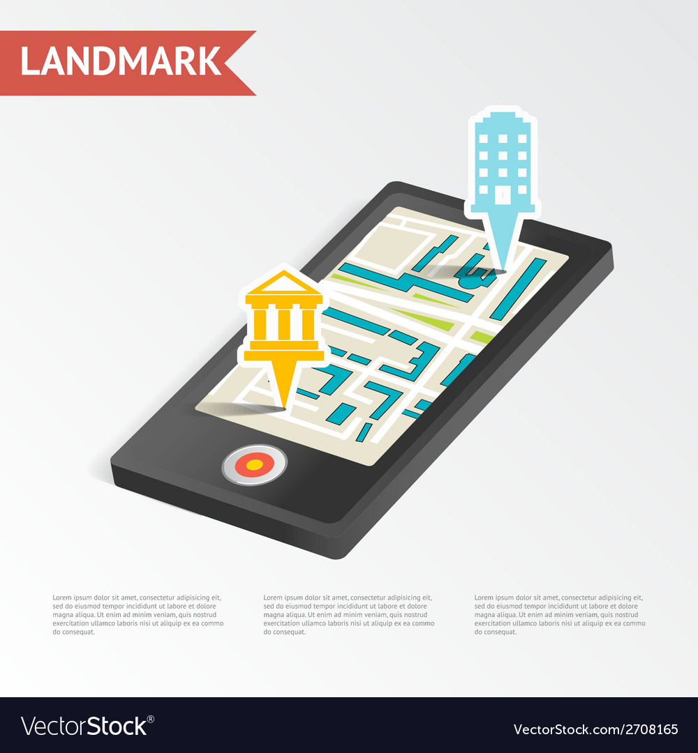 Real estate landmark mobile device isometric vector | Price: 1 Credit (USD $1)