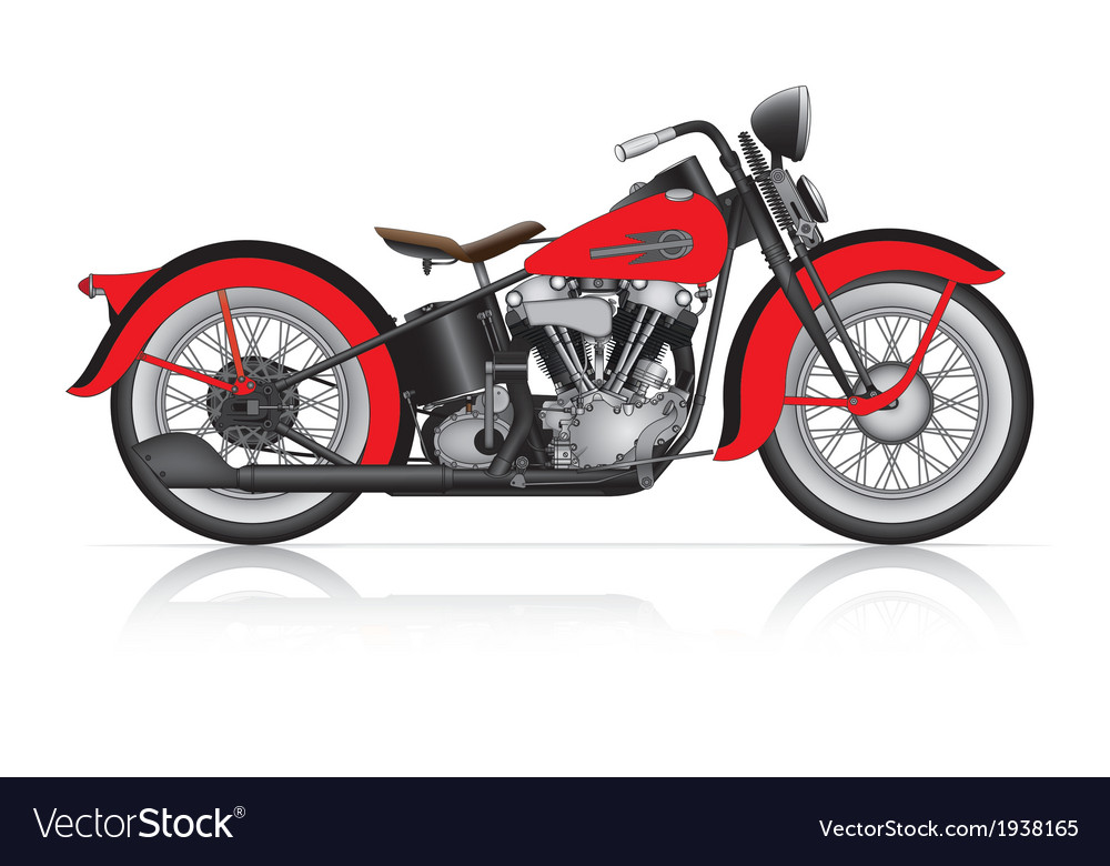 Red classic motorcycle vector | Price: 1 Credit (USD $1)