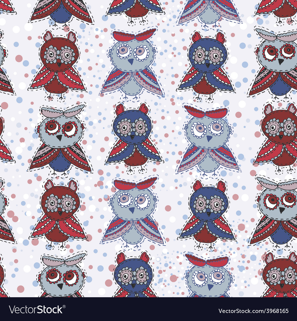 Seamless background with owls blue red gray brown vector | Price: 1 Credit (USD $1)