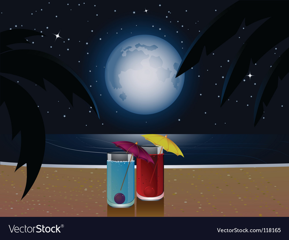 Summer moonlight and cocktails vector | Price: 1 Credit (USD $1)