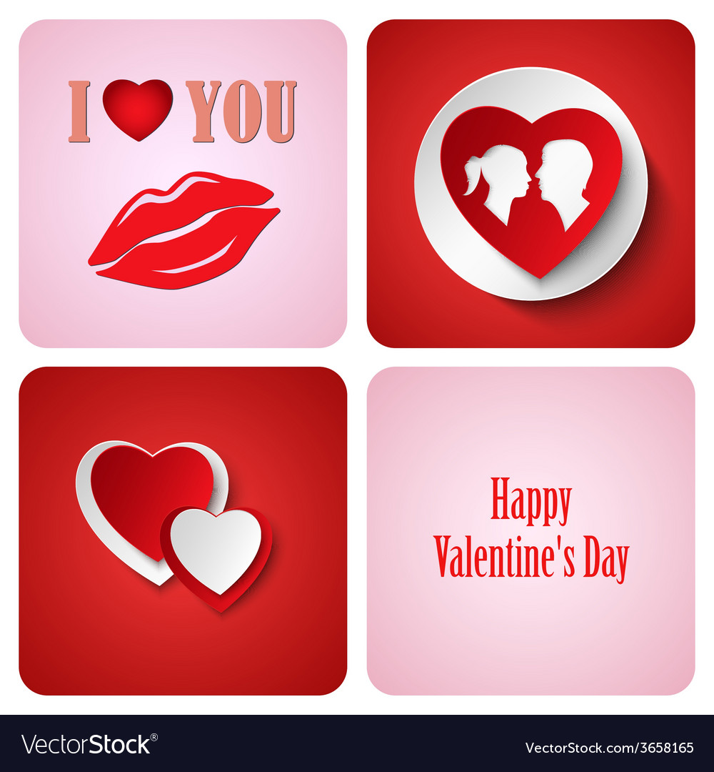 Valentine red decoration card made from white vector | Price: 1 Credit (USD $1)