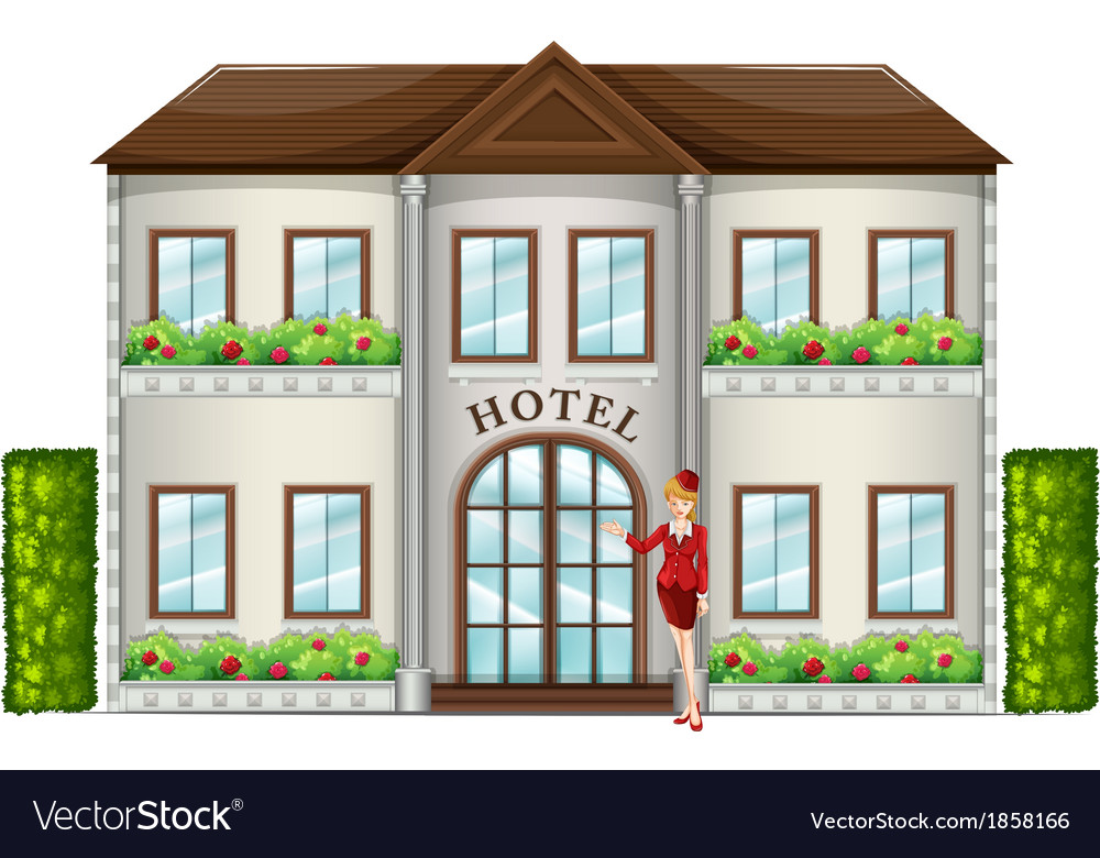 A hotel attendant standing in front of the hotel vector | Price: 1 Credit (USD $1)