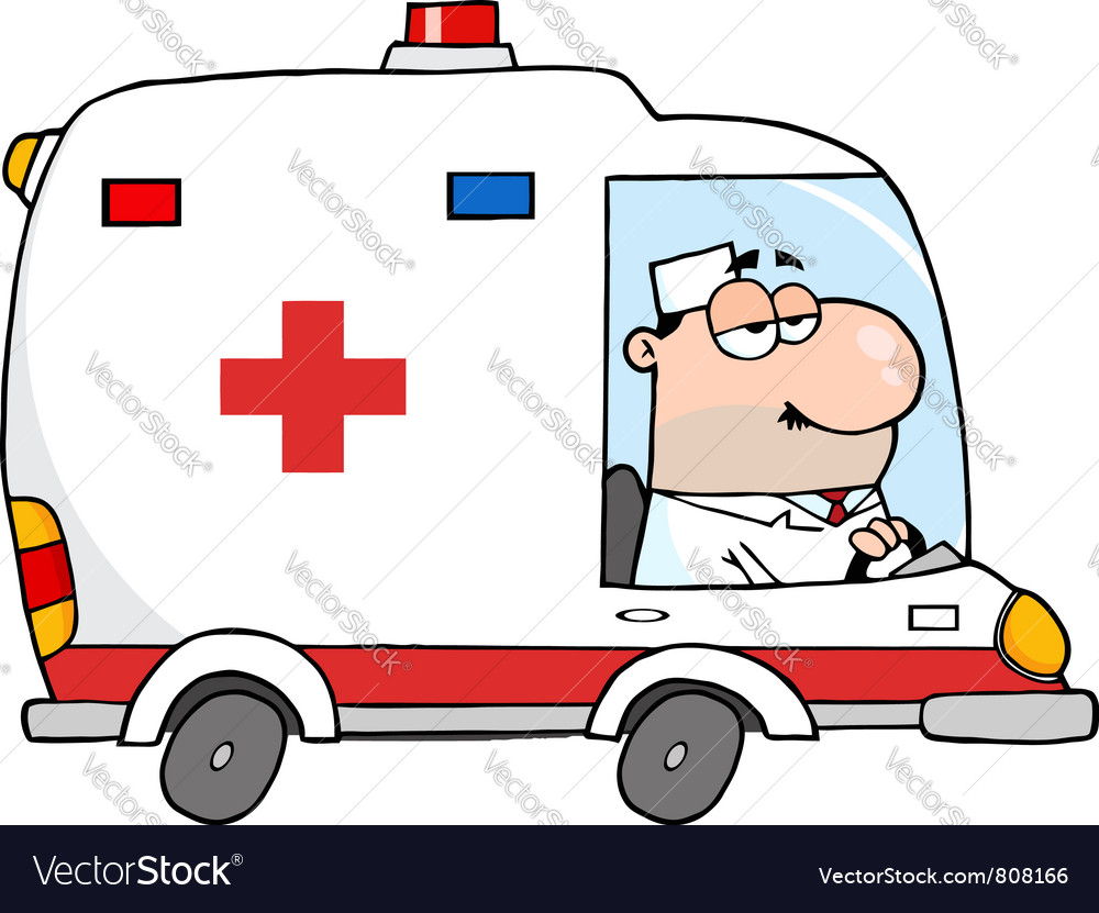 Doctor driving ambulance vector | Price: 1 Credit (USD $1)