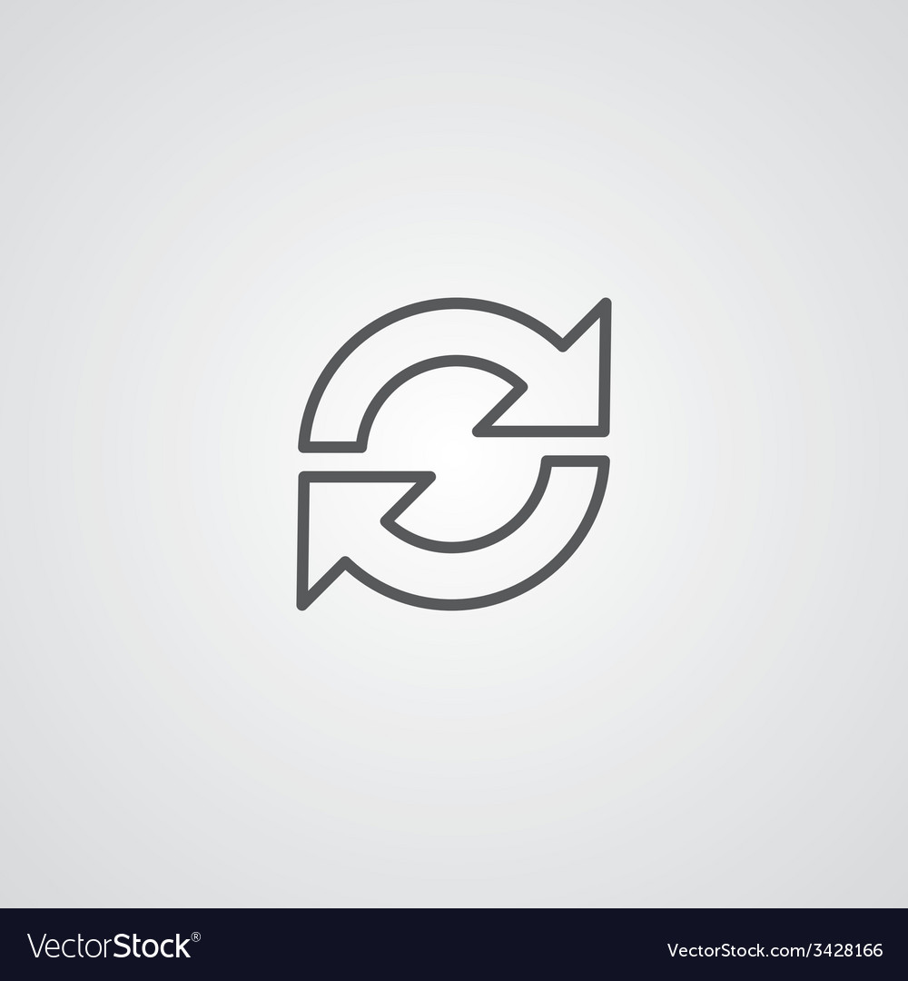 Reload outline symbol dark on white background vector | Price: 1 Credit (USD $1)