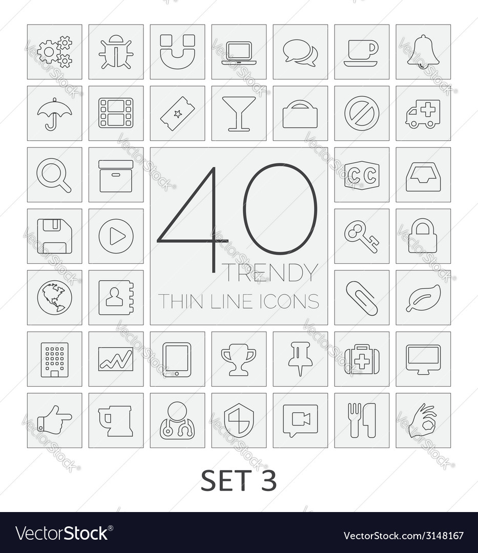 40 thin line icons set 3 vector | Price: 1 Credit (USD $1)