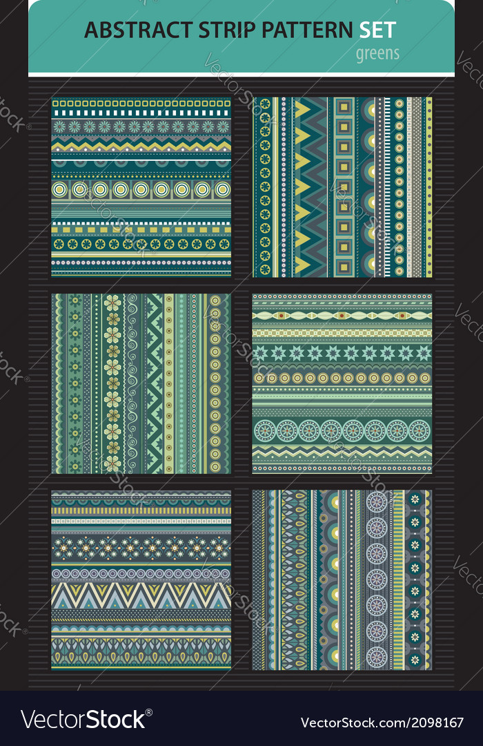 Abstract strip pattern set greens colors vector | Price: 1 Credit (USD $1)