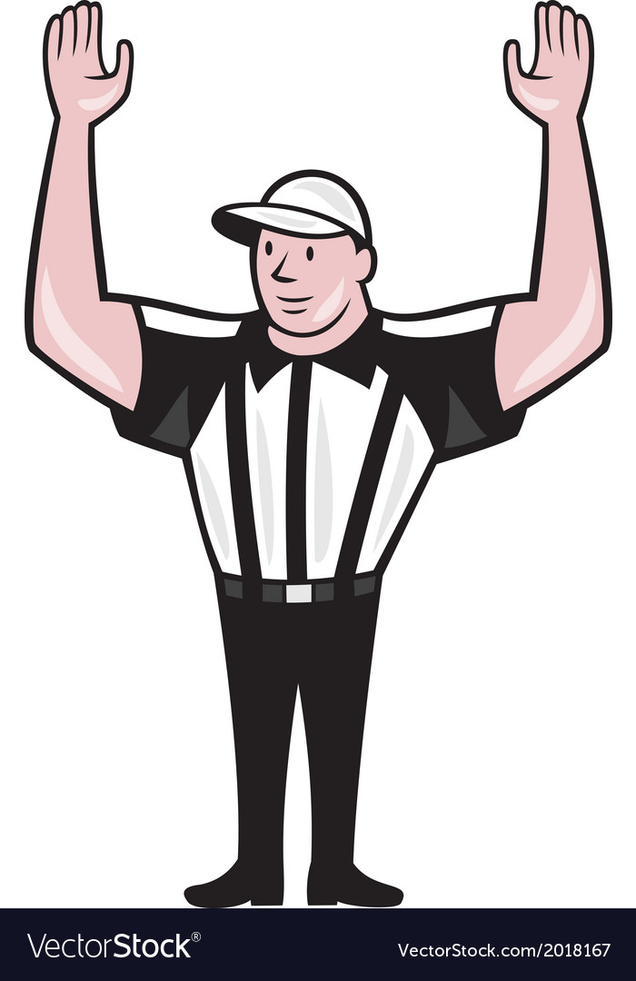 American football referee touchdown cartoon vector | Price: 1 Credit (USD $1)