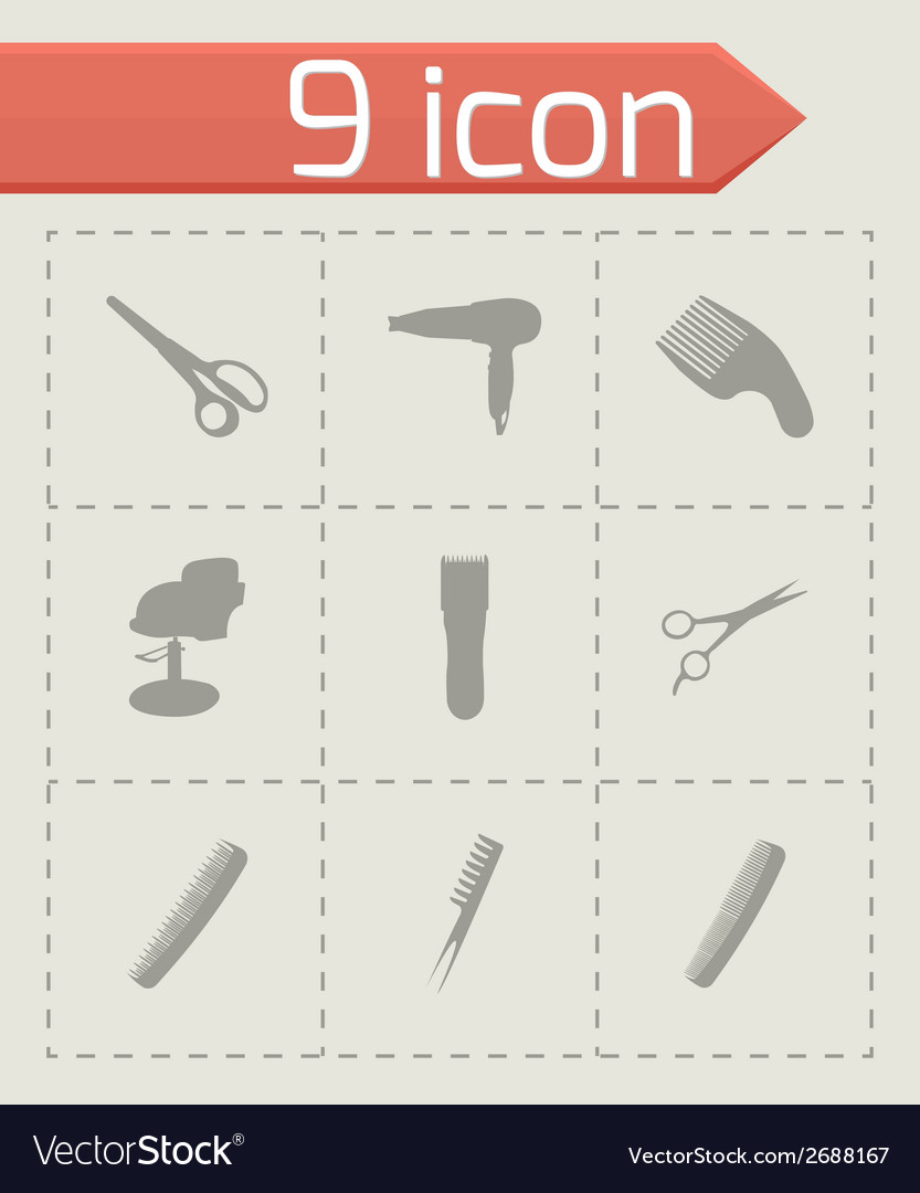 Black barber icons set vector | Price: 1 Credit (USD $1)