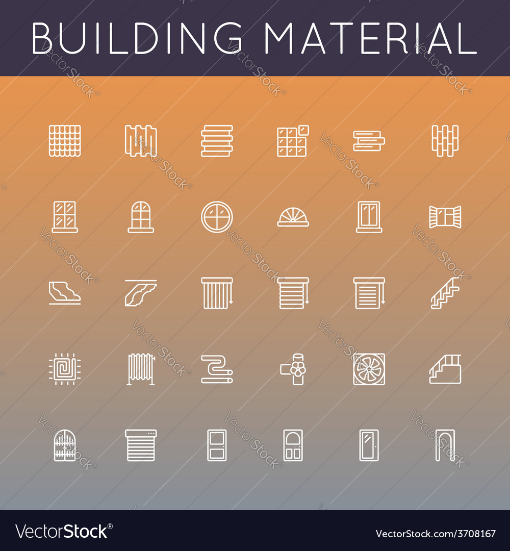 Building material line icons vector | Price: 1 Credit (USD $1)