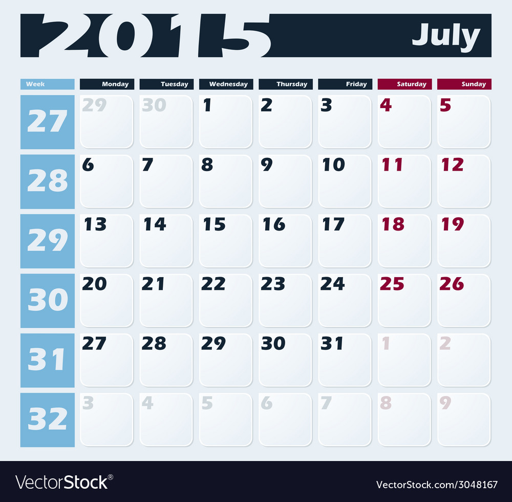 Calendar 2015 july design template vector | Price: 1 Credit (USD $1)