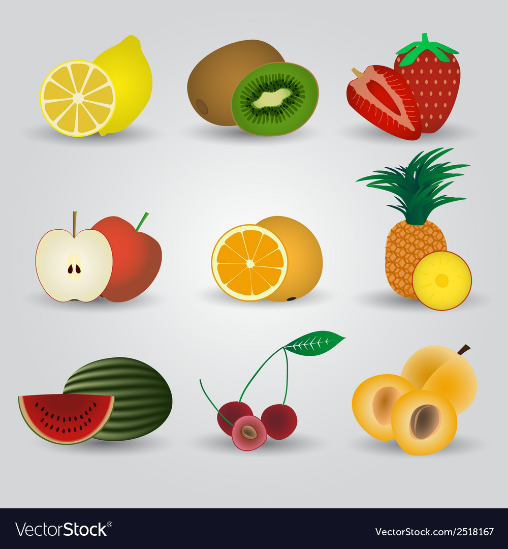 Colorful fruits and half fruits icons eps10 vector | Price: 1 Credit (USD $1)