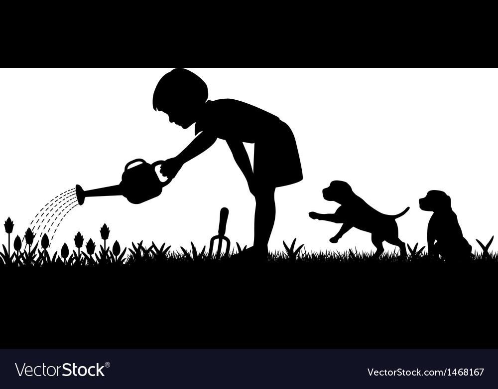 Gardening girl vector | Price: 1 Credit (USD $1)
