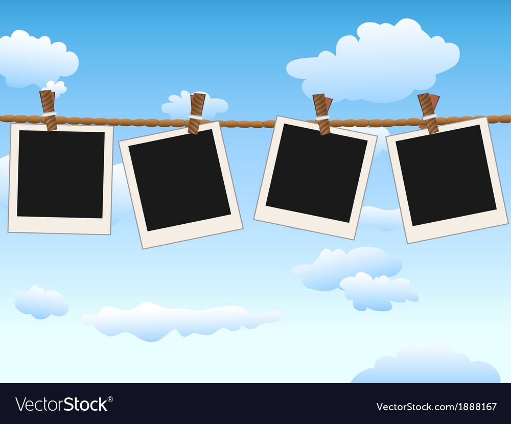 Hanging blank photo frames on blue sky vector | Price: 1 Credit (USD $1)