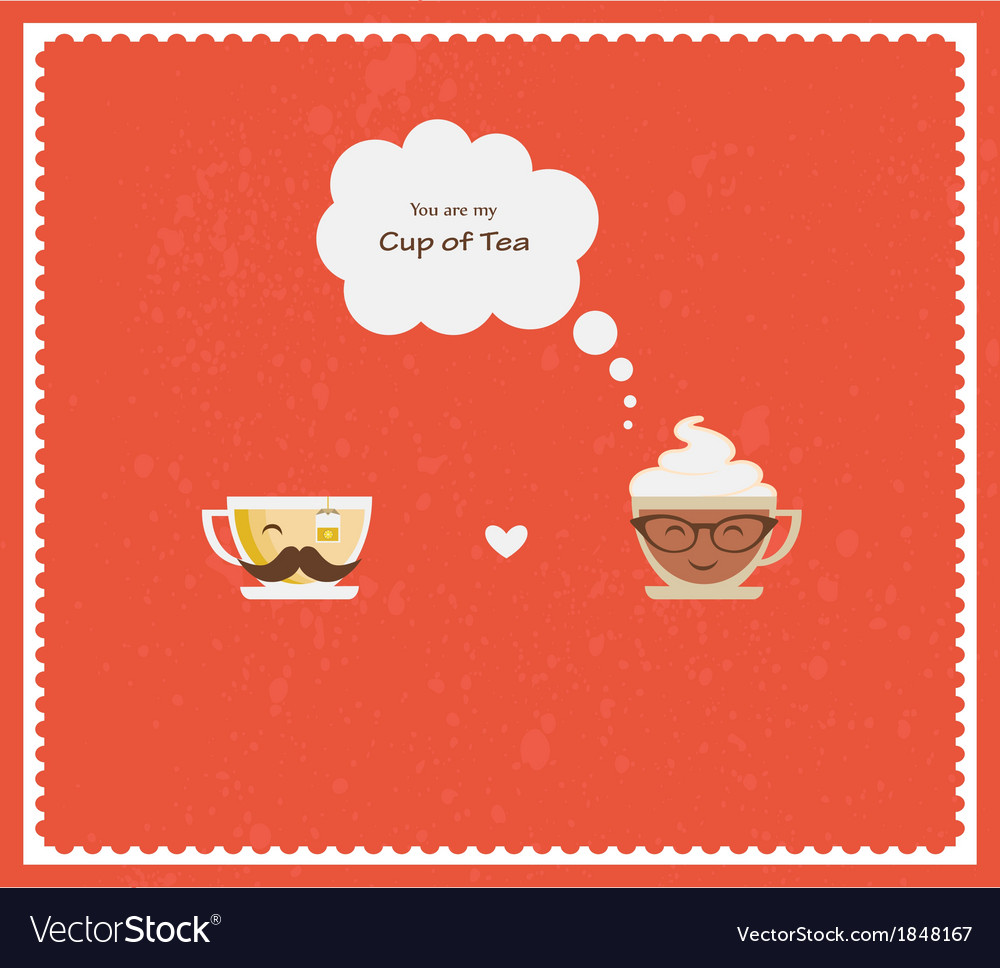 Hypster coffee and tea cups happy valentines vector | Price: 1 Credit (USD $1)