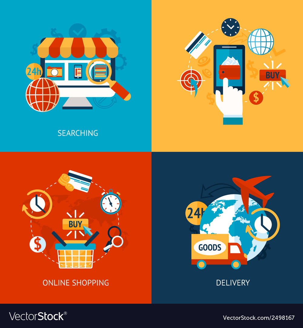 Online shopping flat set vector | Price: 1 Credit (USD $1)