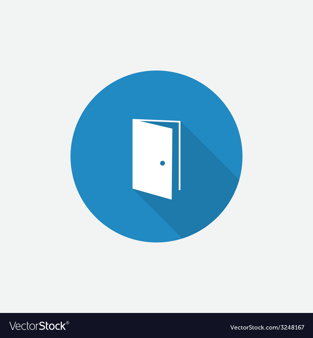 Open door flat blue simple icon with long shadow vector | Price: 1 Credit (USD $1)