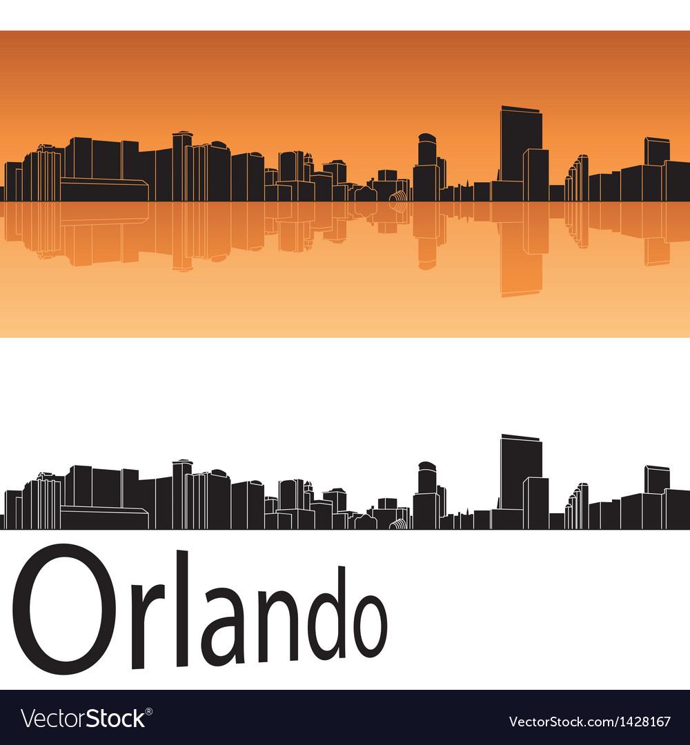 Orlando skyline in orange background vector | Price: 1 Credit (USD $1)