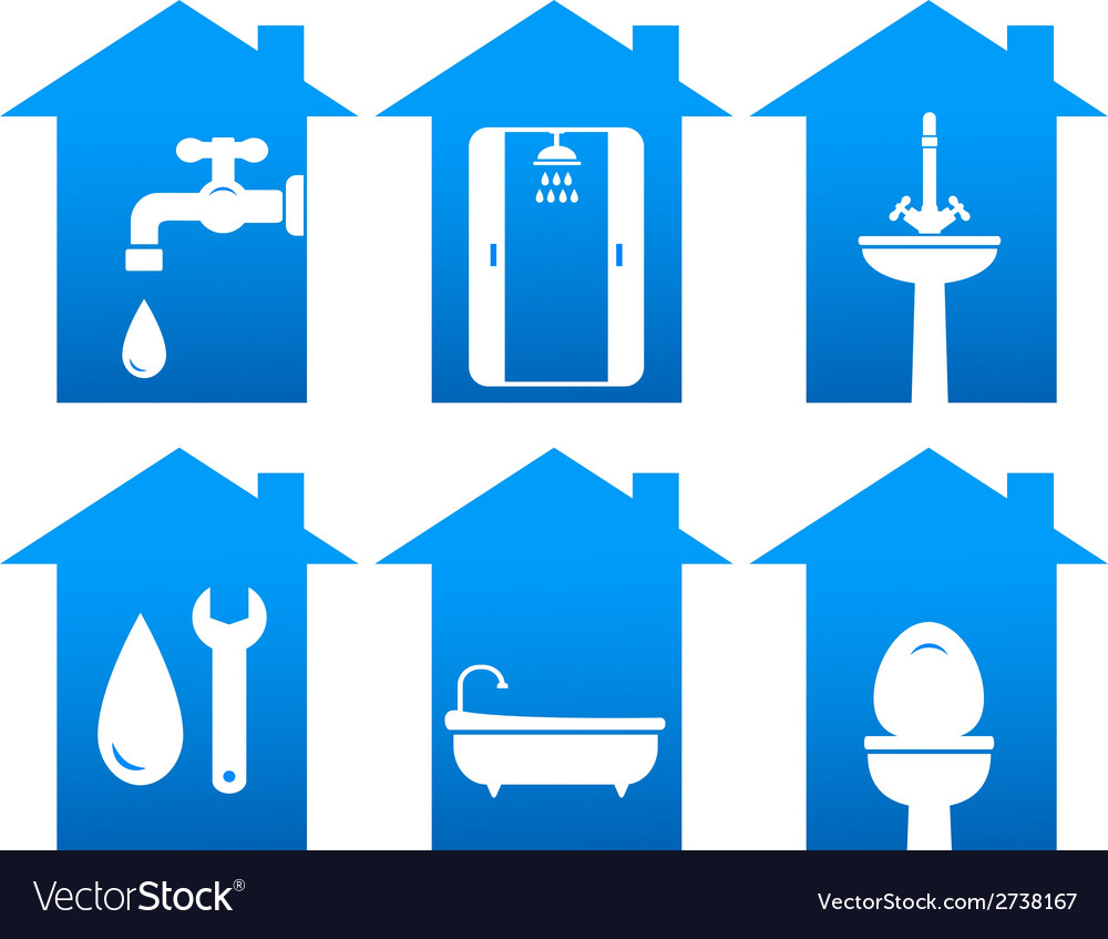 Plumbing set of bathroom icons vector | Price: 1 Credit (USD $1)