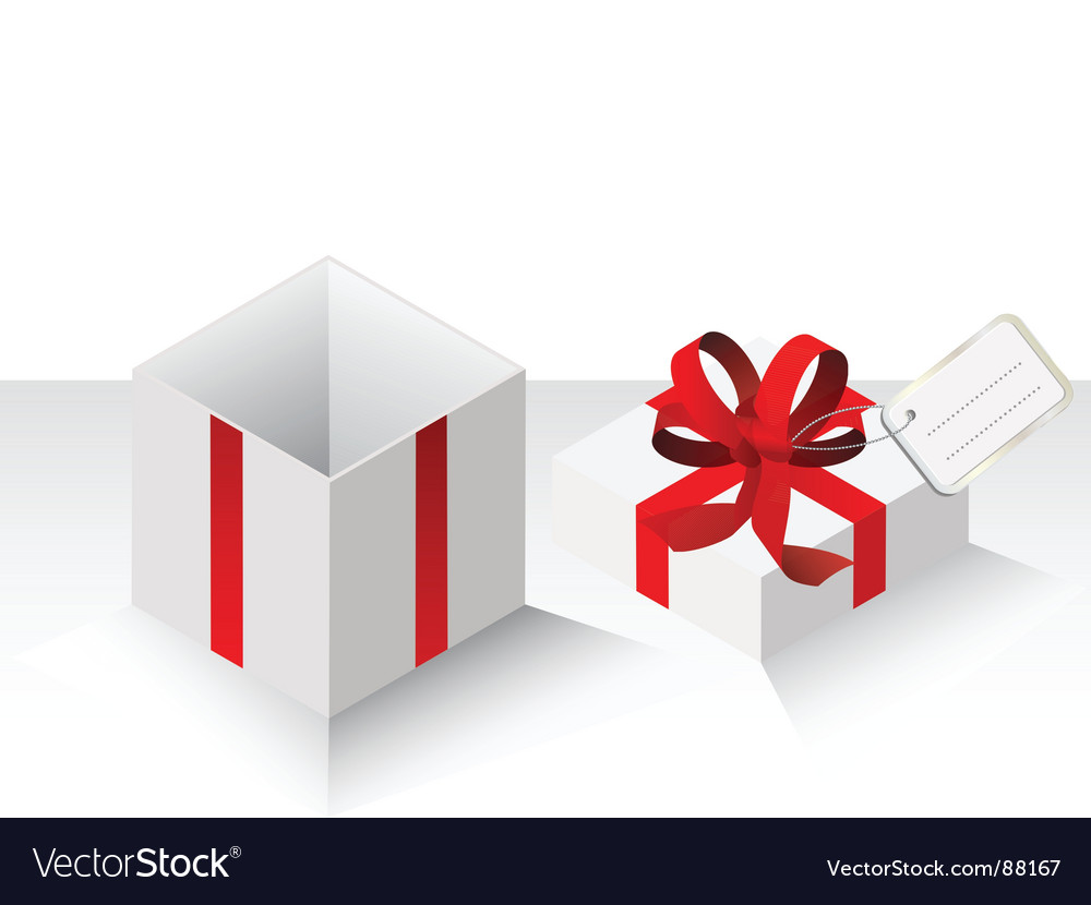 Present gift with red bow vector | Price: 1 Credit (USD $1)