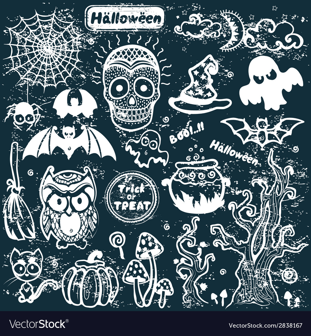 Vintage halloween set of icons vector | Price: 1 Credit (USD $1)