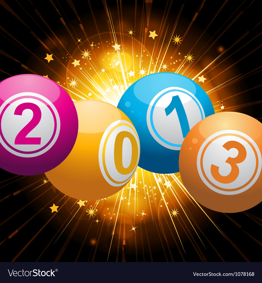2013 bingo lottery balls background with gold star vector | Price: 1 Credit (USD $1)