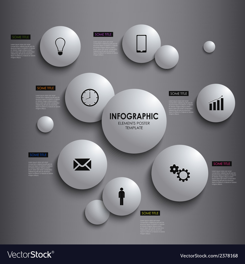 Abstract info graphic white round element poster vector | Price: 1 Credit (USD $1)