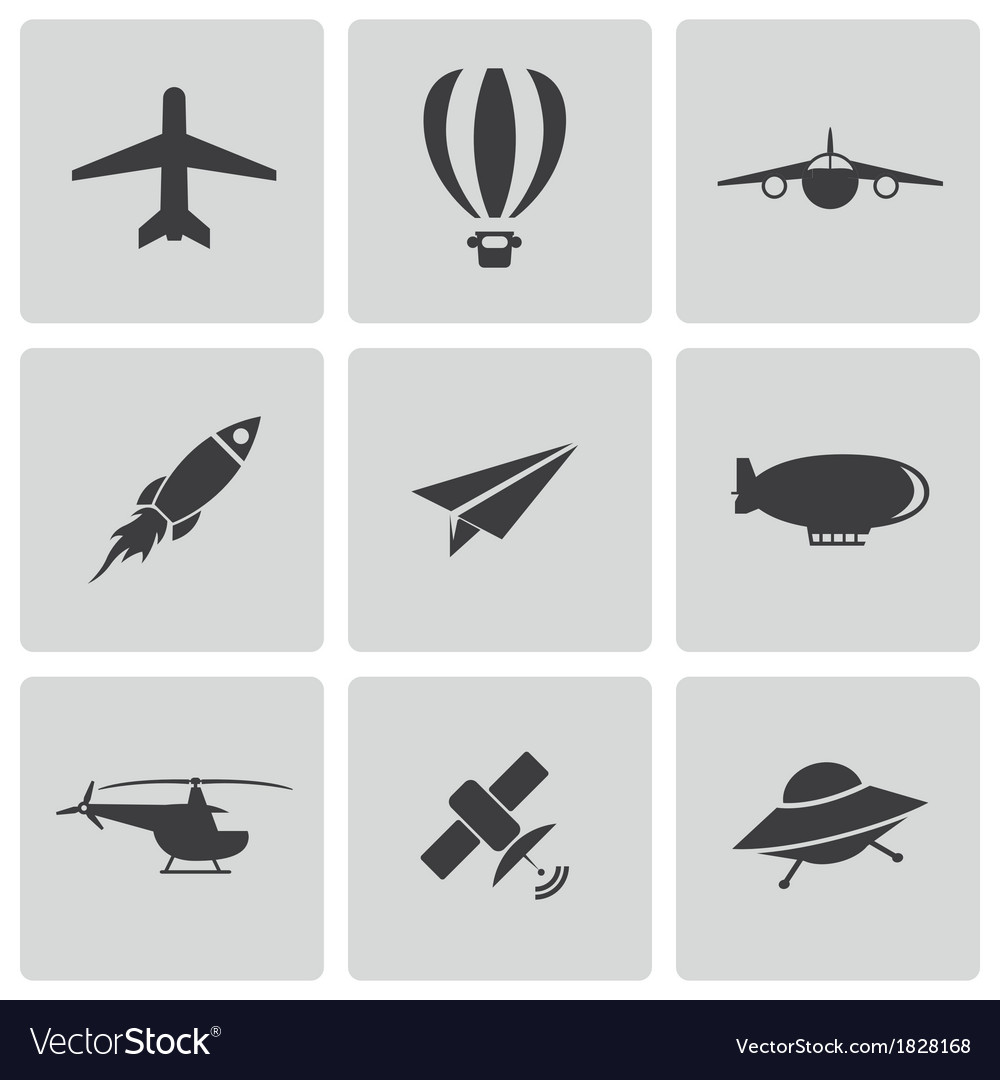 Black airplane icons set vector | Price: 1 Credit (USD $1)