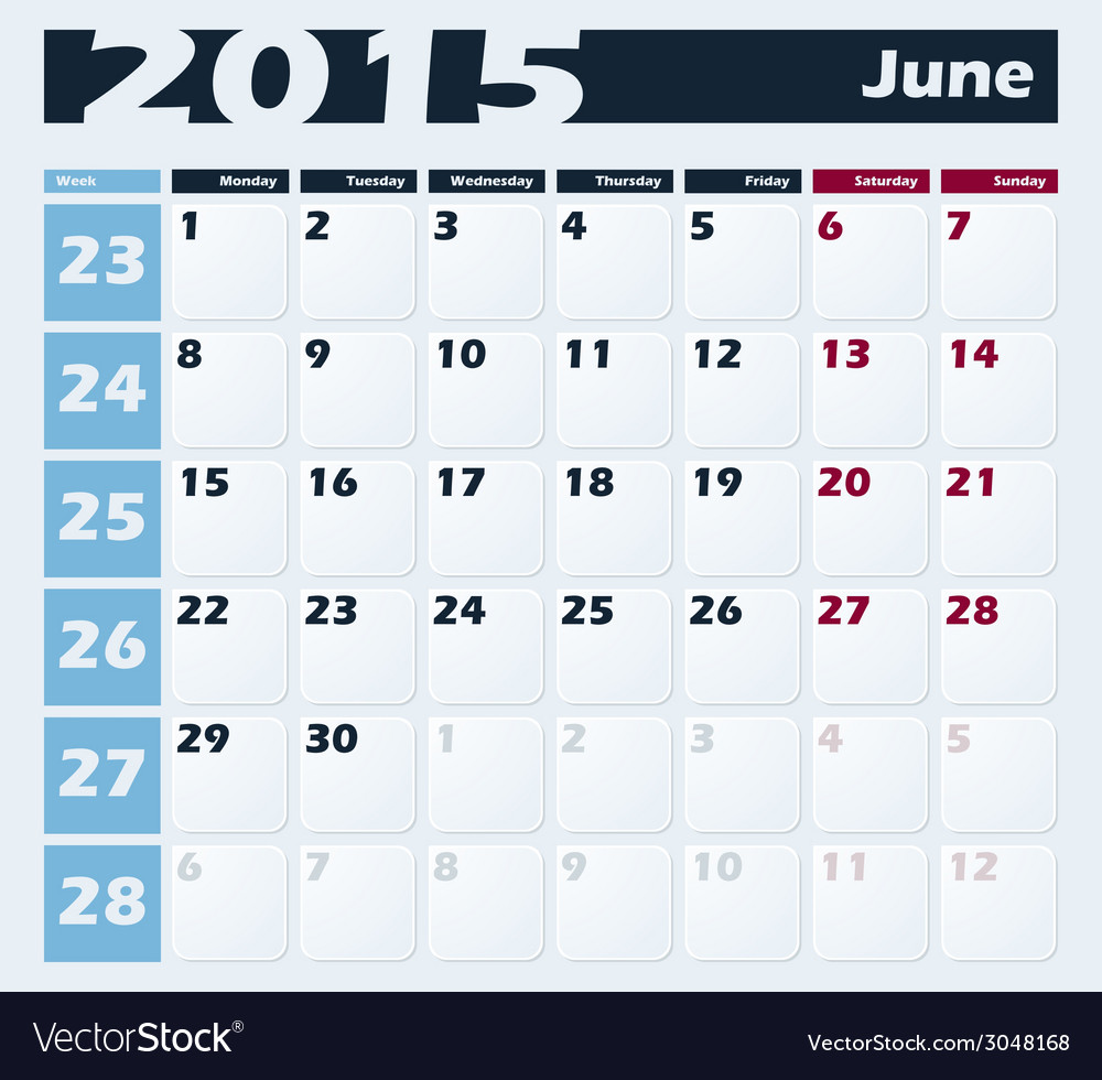 Calendar 2015 june design template vector | Price: 1 Credit (USD $1)
