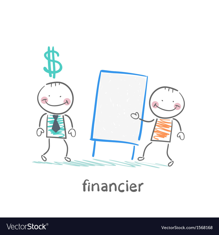 Financier hears a presentation from a man vector | Price: 1 Credit (USD $1)