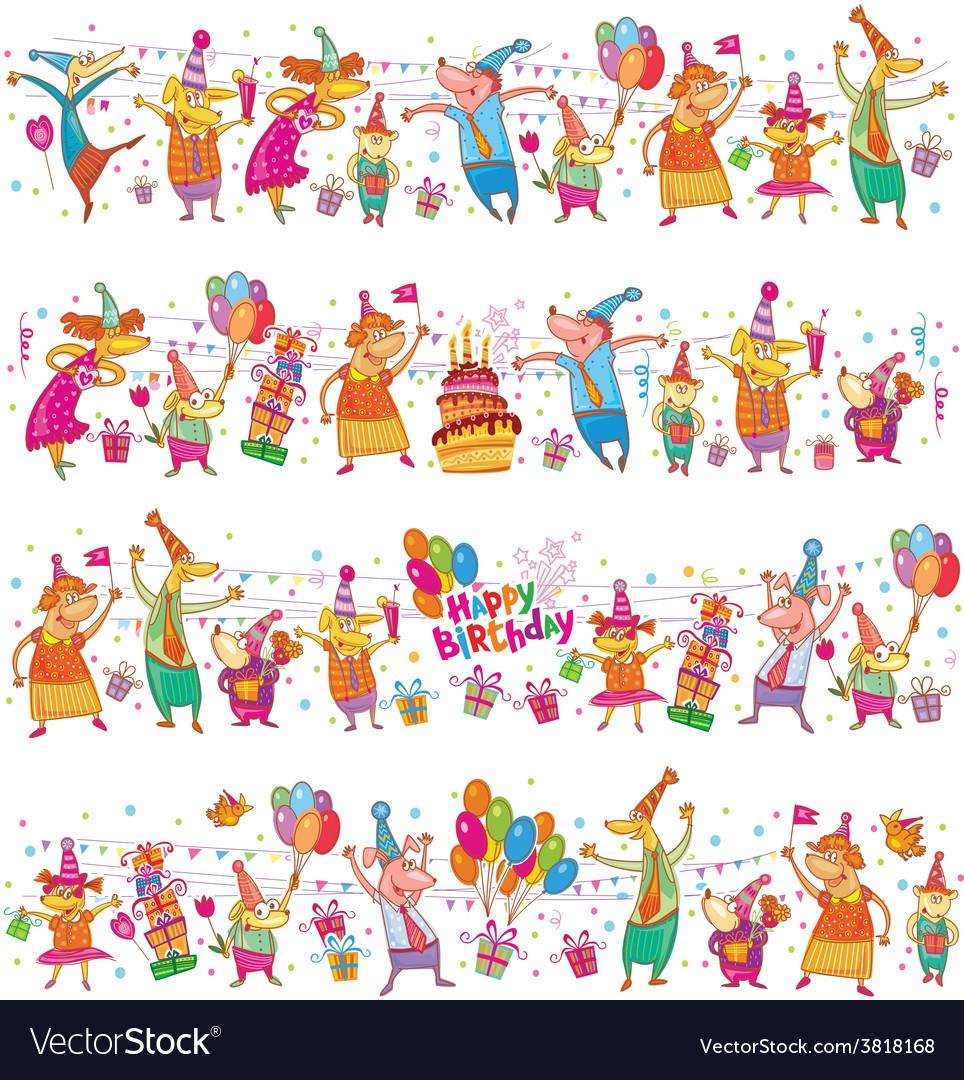 Happy birthday cartoon border vector | Price: 1 Credit (USD $1)