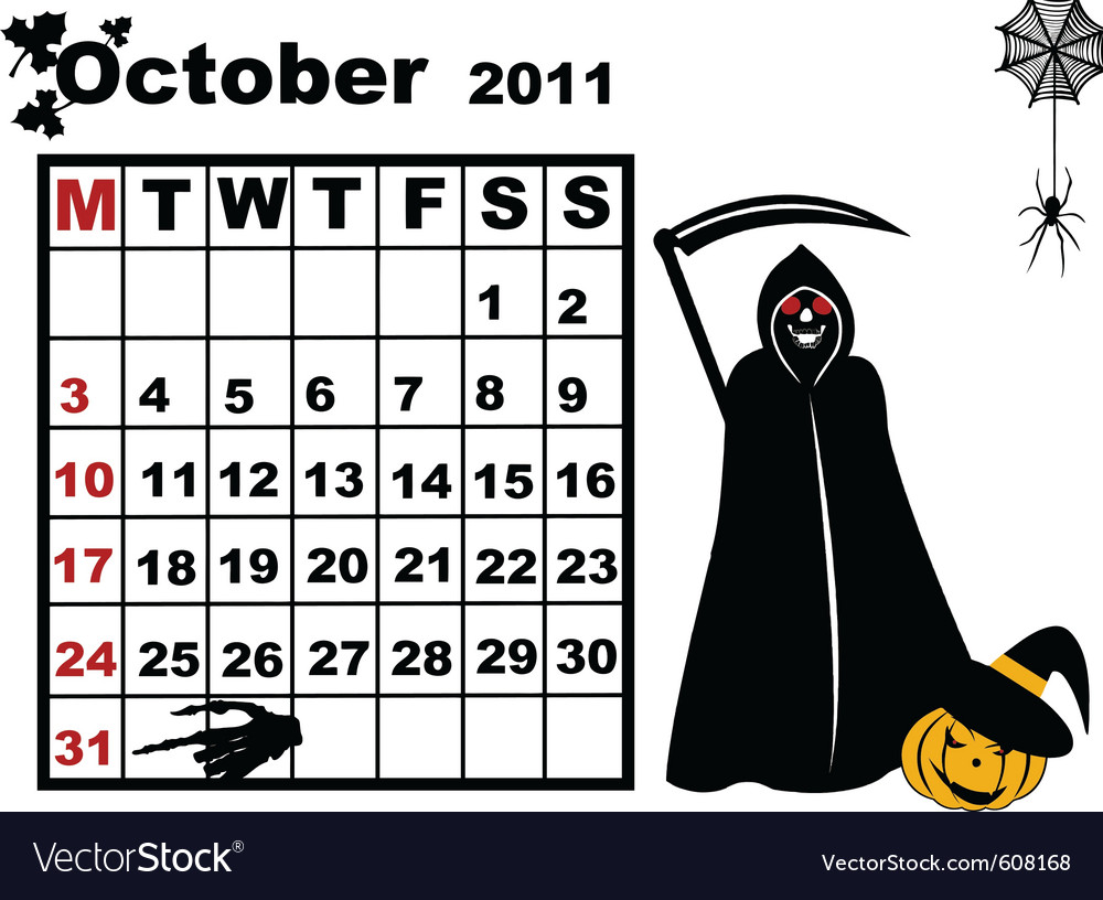 October calendar vector | Price: 1 Credit (USD $1)