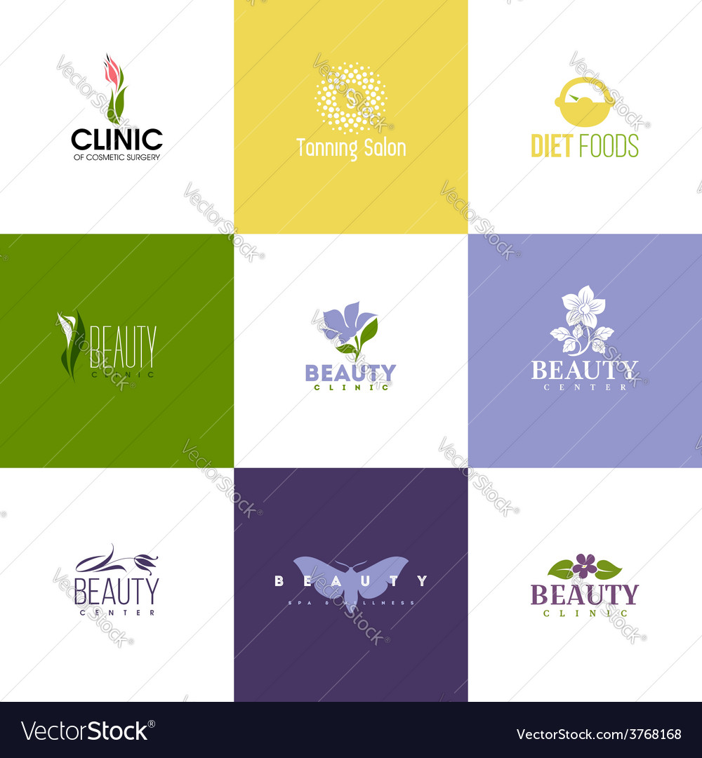 Set of beauty logo templates icons of flowers vector | Price: 1 Credit (USD $1)