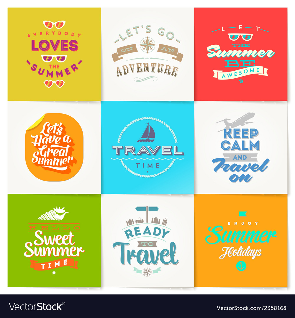 Set of travel and vacation type design vector | Price: 1 Credit (USD $1)